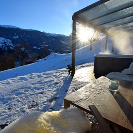 Skihotel: Deluxe Suite Goldreh Terrasse mit Pool - Chalets & Apartments Wachterhof